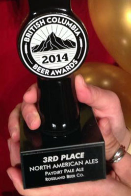Rossland Beer Company Paydirt Pale Ale 2014 3rd place winner